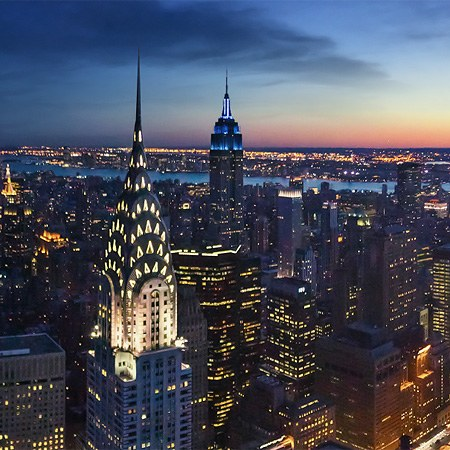 Sunset and Dusk Time View of Manhattan, New York, USA