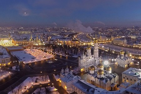 Winter in Moscow City Centre, Russia