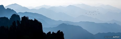 Huangshan mountains silhouettes
