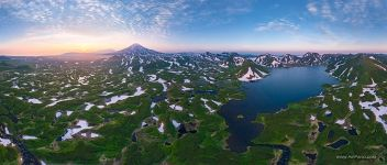 Kambalnoe Lake at sunset, Kamchatka, Russia